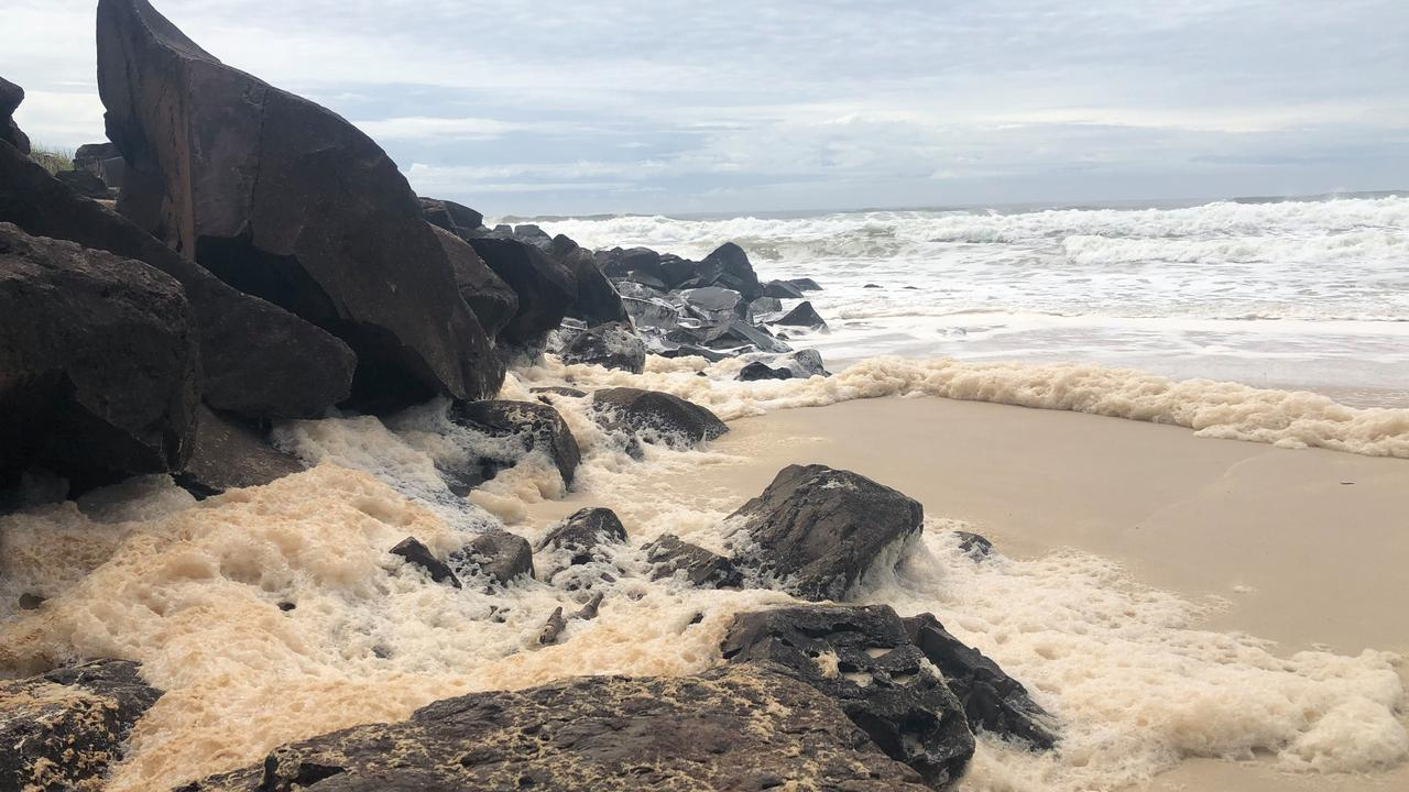 Runoff flushes into the ocean causing pollution at Ballina.