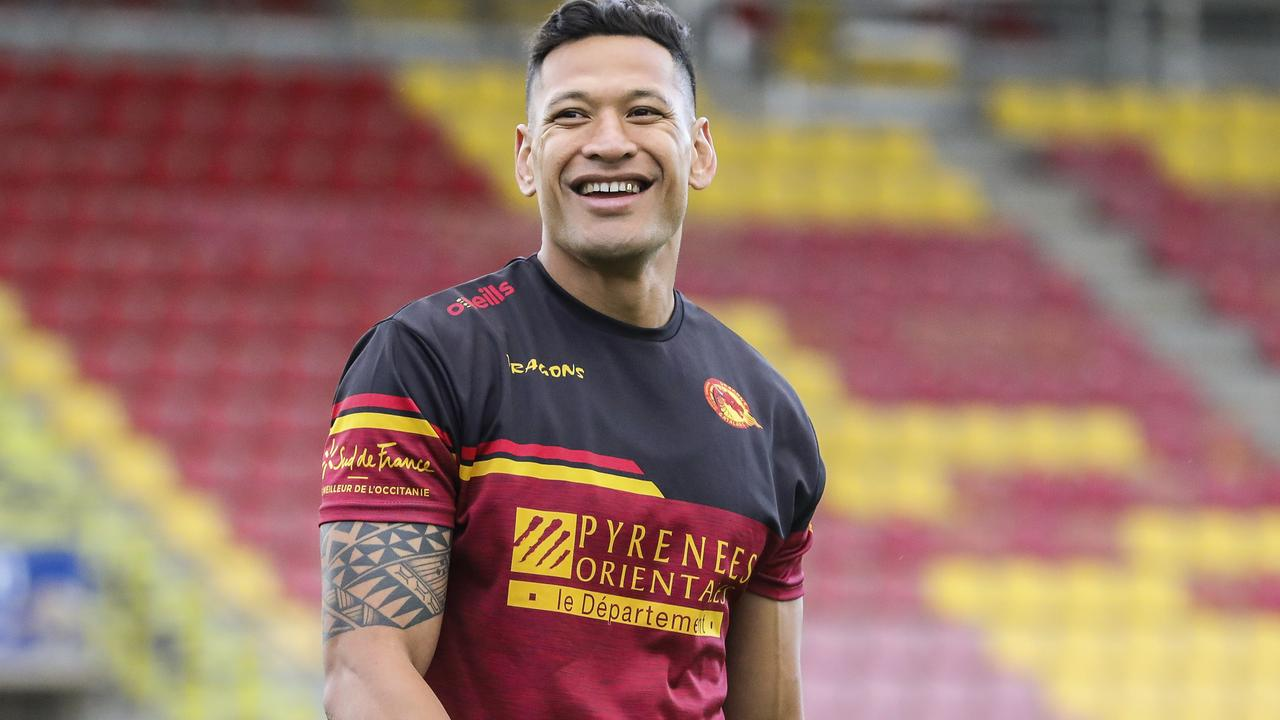 Australian rugby player Israel Folau smiles during a training session with his new club Catalan Dragons in Perpignan, France. Picture: AP