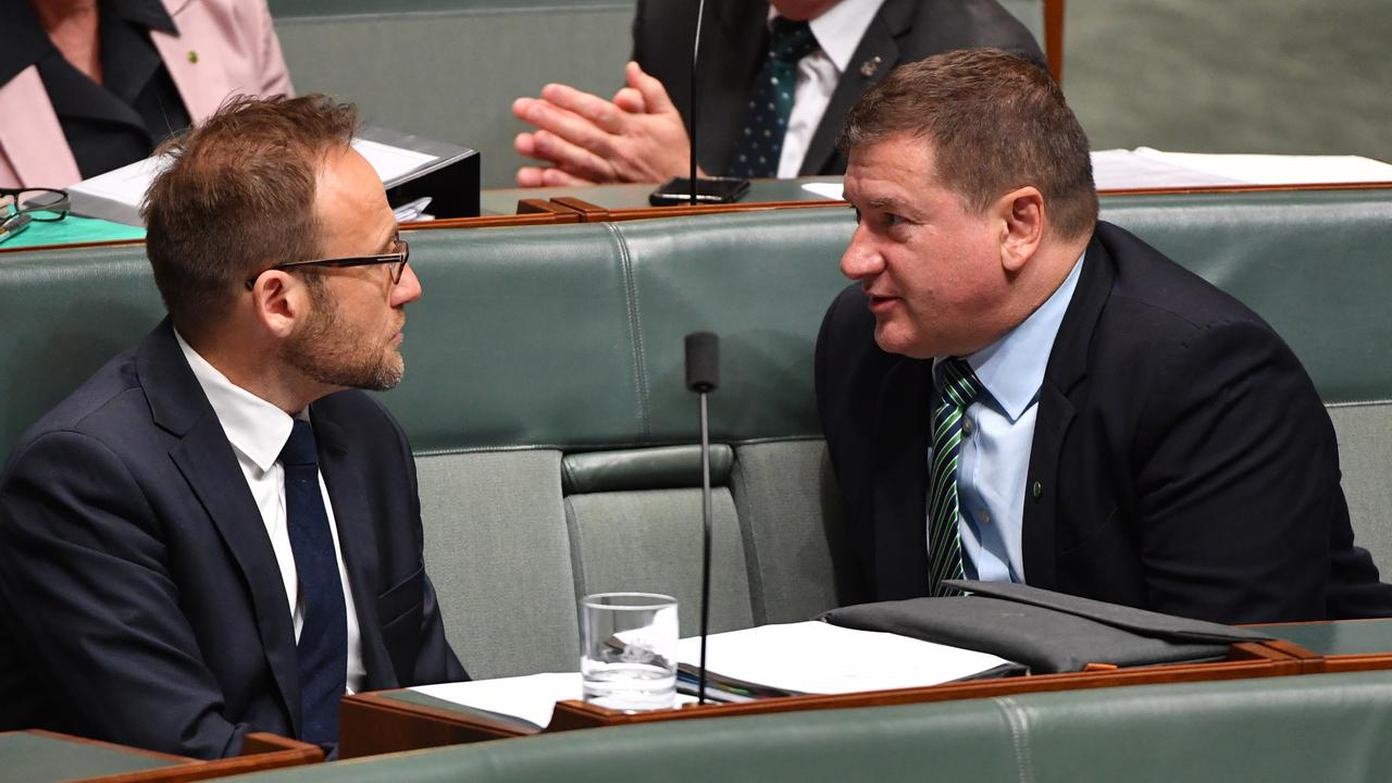 Greens leader Adam Bandt (left) and former Nationals member for Wide Bay Llew O'Brien during Question Time in the House of Representatives at Parliament House in Canberra, Monday, Feb. 10, 2020. Picture: AAP Image/Mick Tsikas