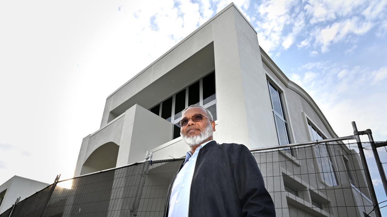 Professor Shahjahan Khan outside the new Garden City Mosque.