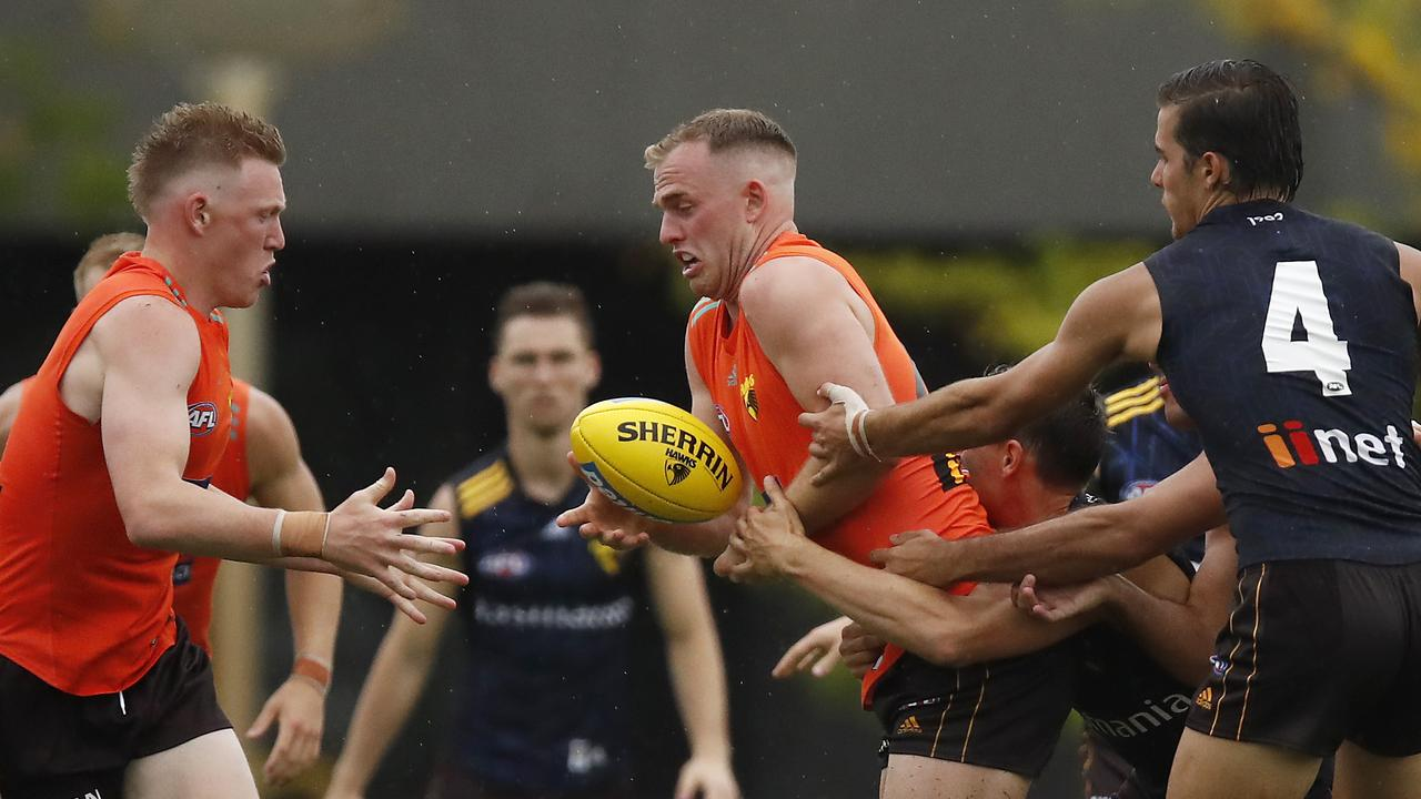 Tom Mitchell showed no signs of his injury in the Hawks' intra-club. Picture: AAP Image/Sean Garnsworthy