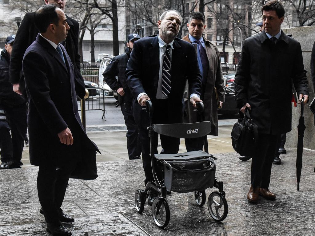 Weinstein and his notorious walking frame. Picture: Getty