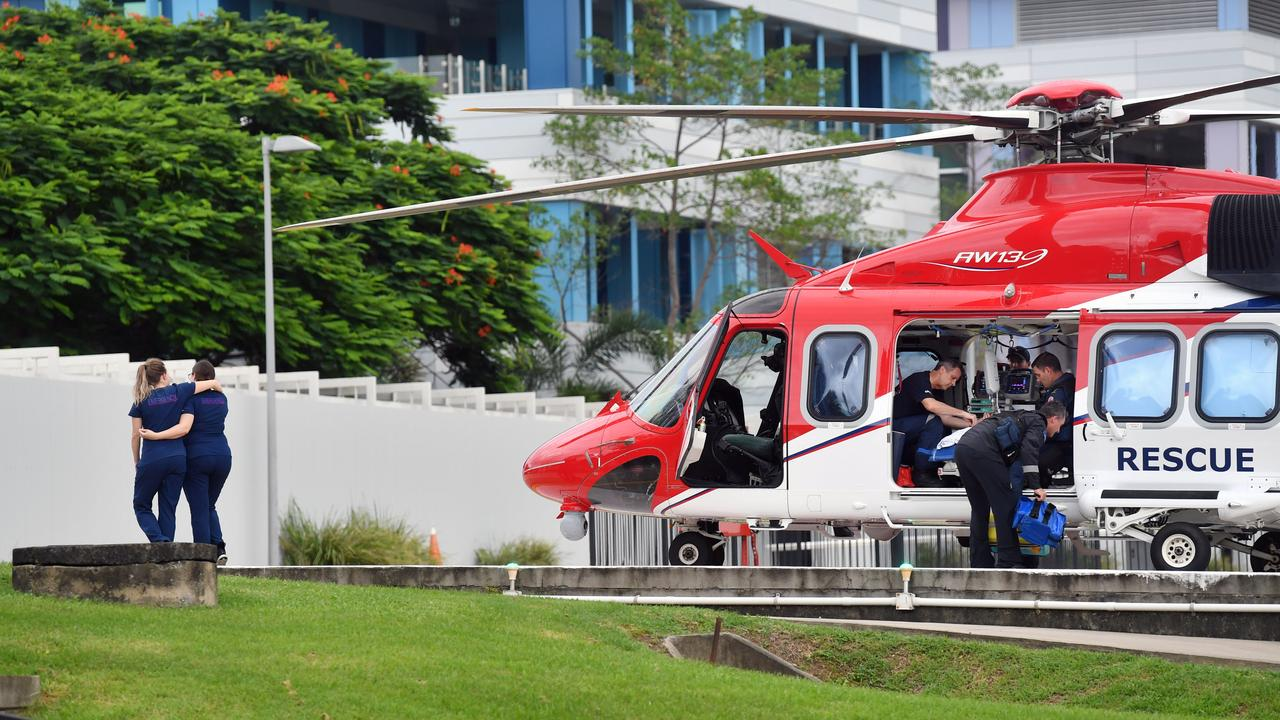The Townsville Rescue Helicopter airlifting a child from the Mackay Base Hospital to Townsville. Hospital after a car crash. Picture: Tony Martin