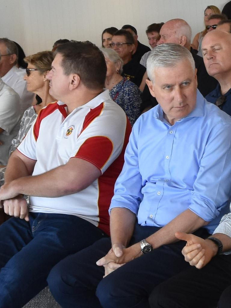 FEDERAL FEUD: Member for Wide Bay Llew O'Brien and Deputy Prime Minister Michael McCormack forced a united front at the official opening of Sunshine Beach Surf Lifesaving Club. Photo: Caitlin Zerafa