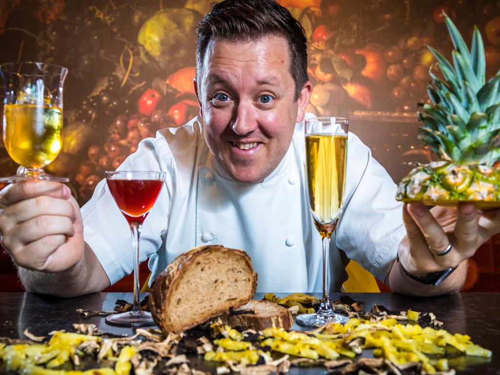 Chef Ashley Palmer Watts with sustainable cocktails made from ingredients which would otherwise become kitchen scrap at Dinner by Heston. Picture: Jake Nowakowski