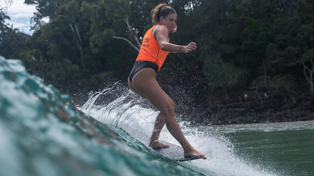 Local talent Emily Lethbridge struts her longboarding stuff at the Noosa Festival of Surfing.