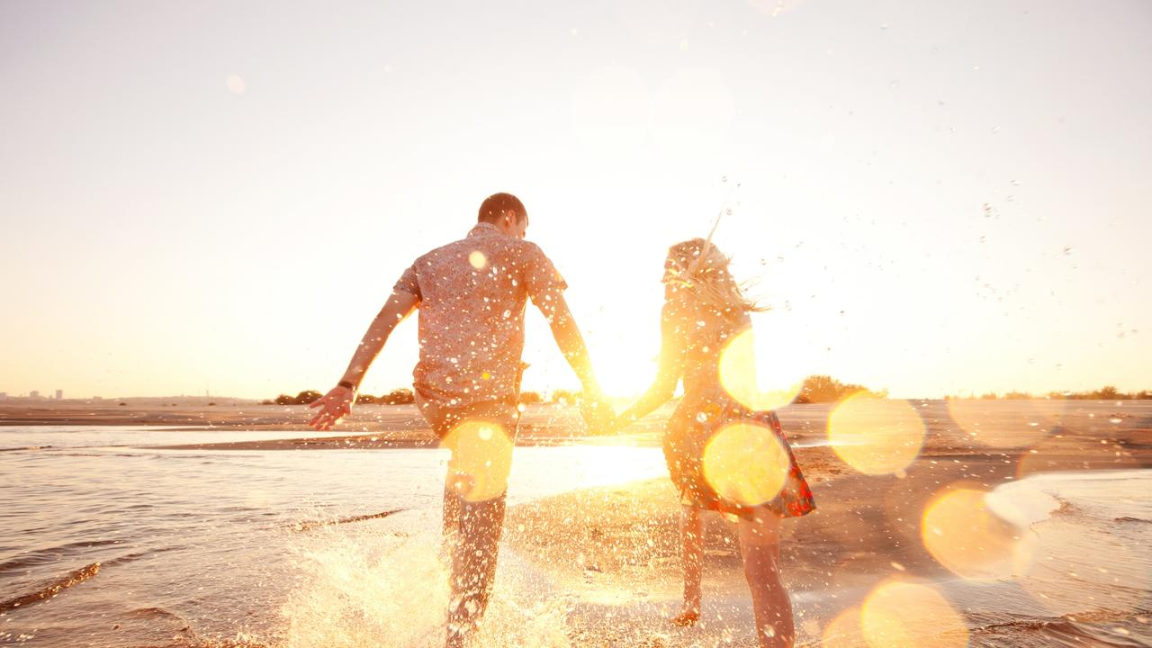 A romantic sunset walk on the beach is the perfect way to end Valentine's Day.