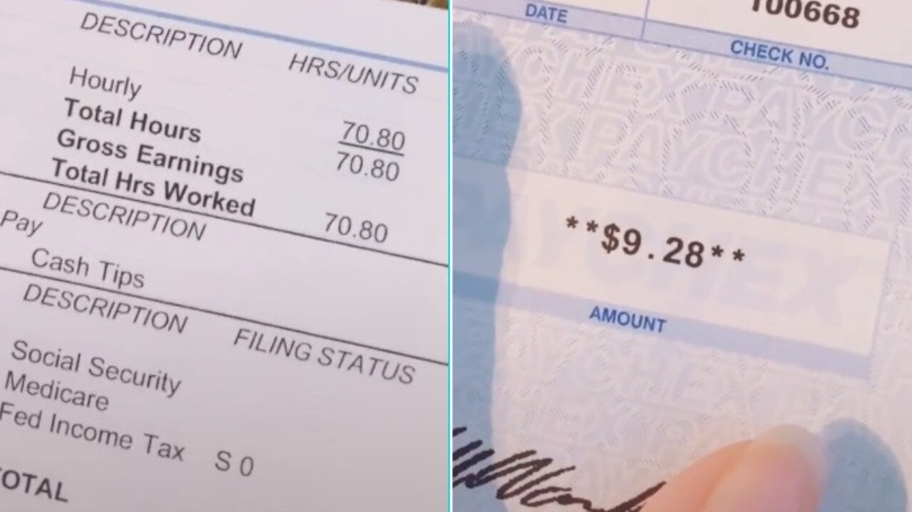 Aaliyah Cortez worked 70.80 hours – but only made $US9.28. Picture: TikTok/Aaliyah Cortez