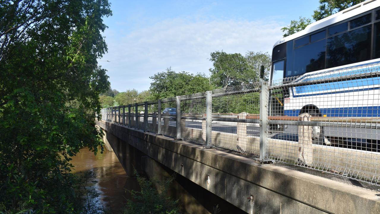 KIDD BRIDGE: Fast flowing Mary River rushes under Kidd Bridge.