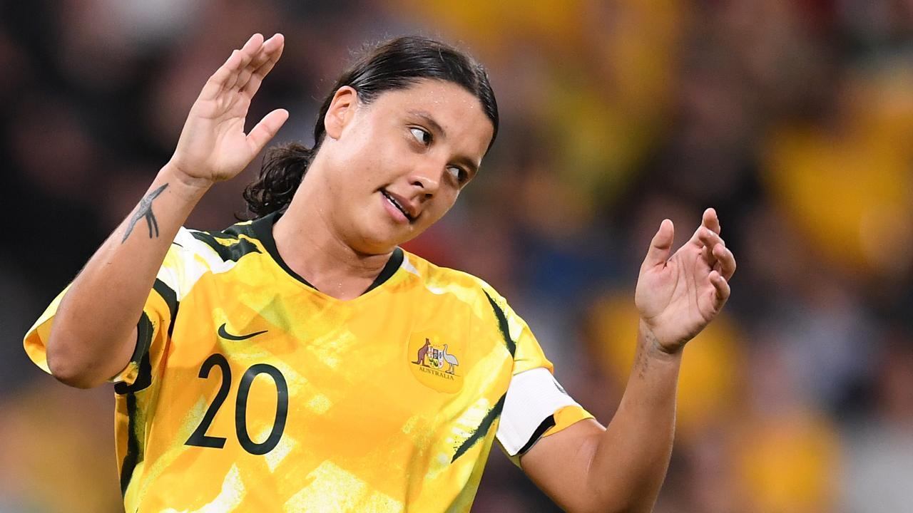 Matildas captain Sam Kerr rues a missed chance. Picture: AAP