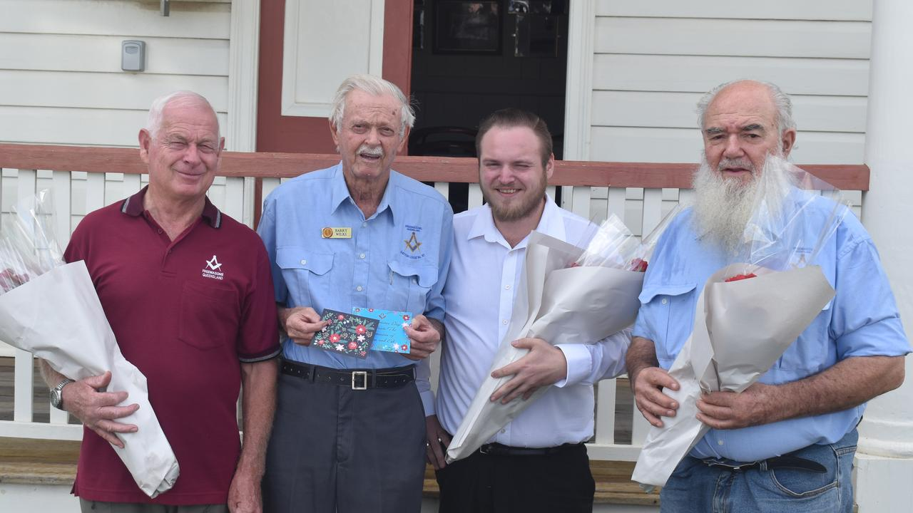 Chris Binding, Barry Wilks, Alan Bulpim and Jonathan Rudduck from the Masonic Lodge in Gatton get set to share the love on Valentine's Day.