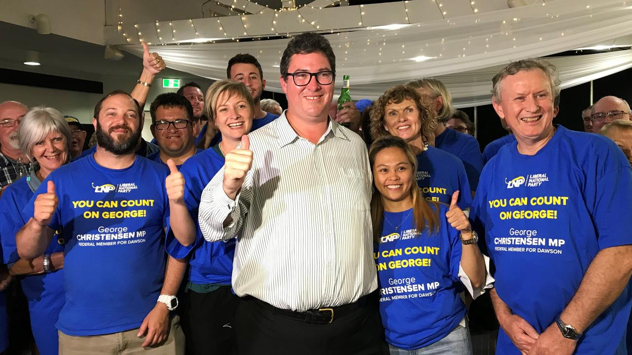 Dawson MP George Christensen celebrates his 2019 federal election win with his now-wife April, family, friends and supporters.