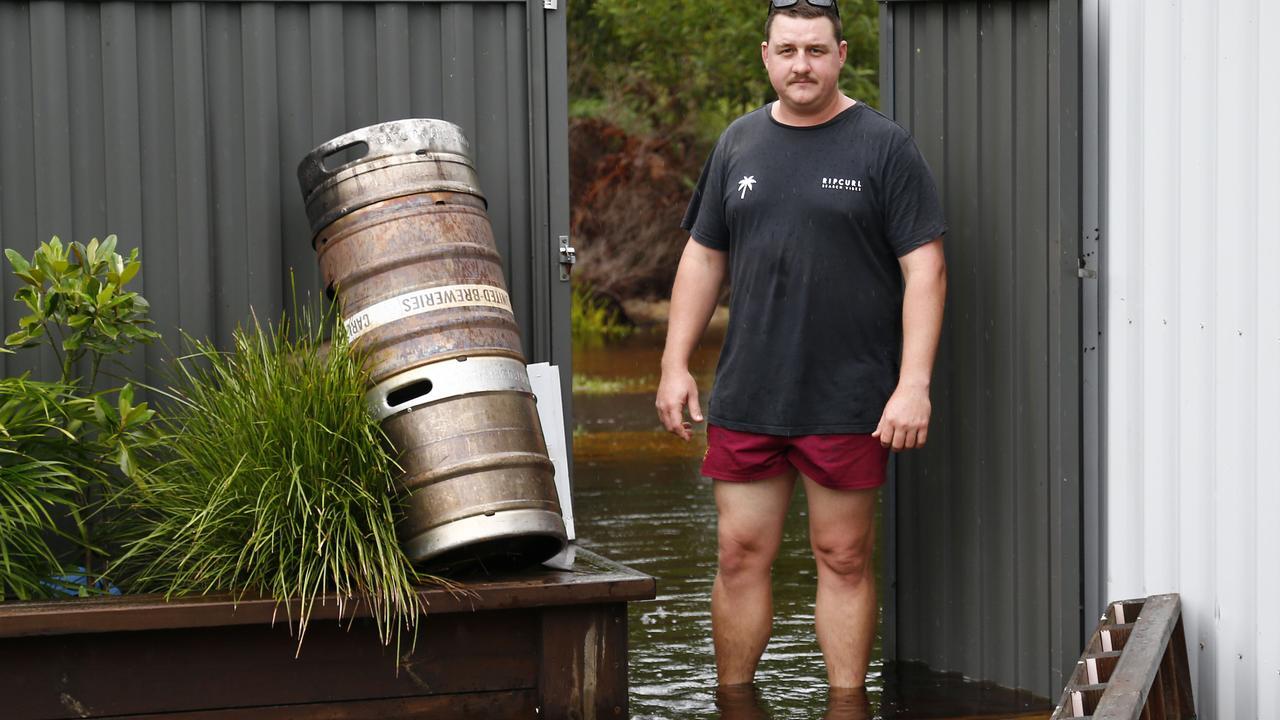 Matt Fischer at his flooded property on Jacaranda Road. Picture: Tertius Pickard