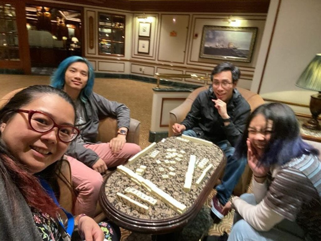 Aun Na Tan (glasses) with husband Jeff Soh, son Xander Soh (blue hair) and daughter Kaitlyn Soh. Picture: Supplied