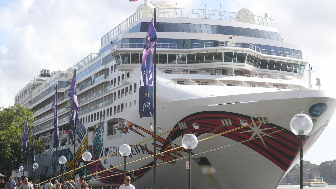 The Norwegian jewel cruise ship docked at Circular Quay Sydney. Picture John Grainger