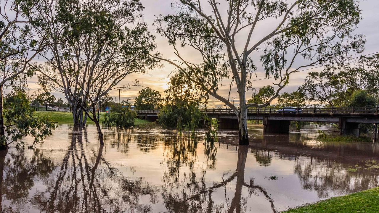 A SLOW RISE: Steven Kasper captured the Condamine River as it appeared Sunday morning after significant rainfall.
