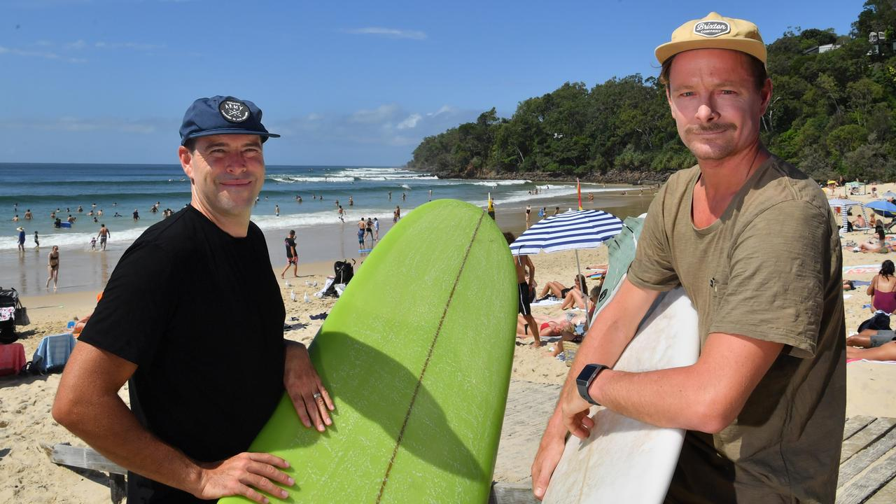 Josh Constable and Chris Oakley saved a girl from drowning at the Boiling Pot in Noosa Heads during a day of huge swell at the Boiling Pot. Photo: John McCutcheon / Sunshine Coast Daily