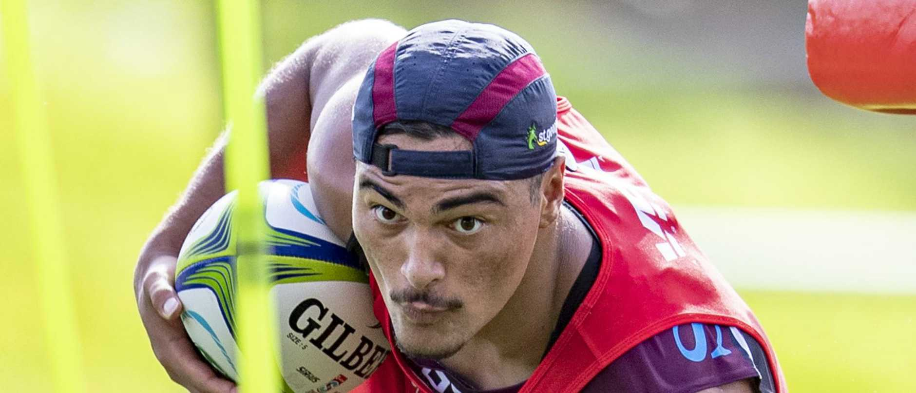 Jordan Petaia at Queensland Reds training. Picture: Brendan Hertel