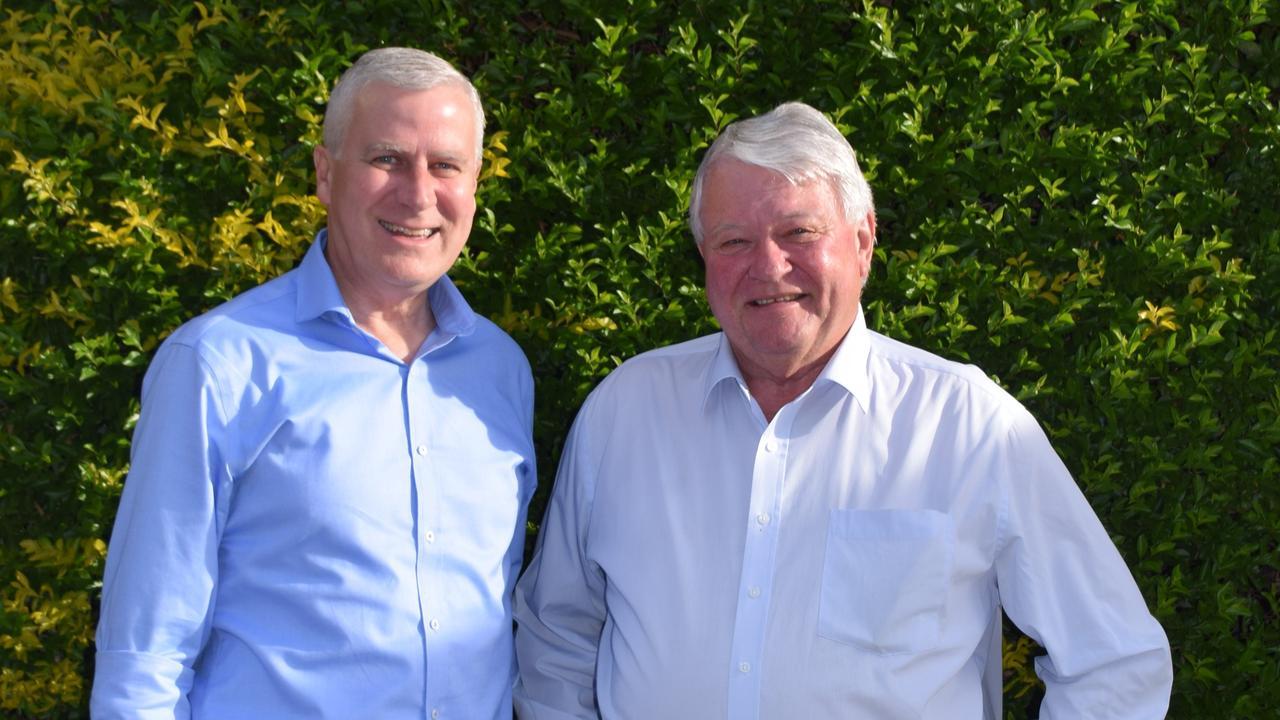 Nationals leader Michael McCormack and Member for Flynn Ken O'Dowd.