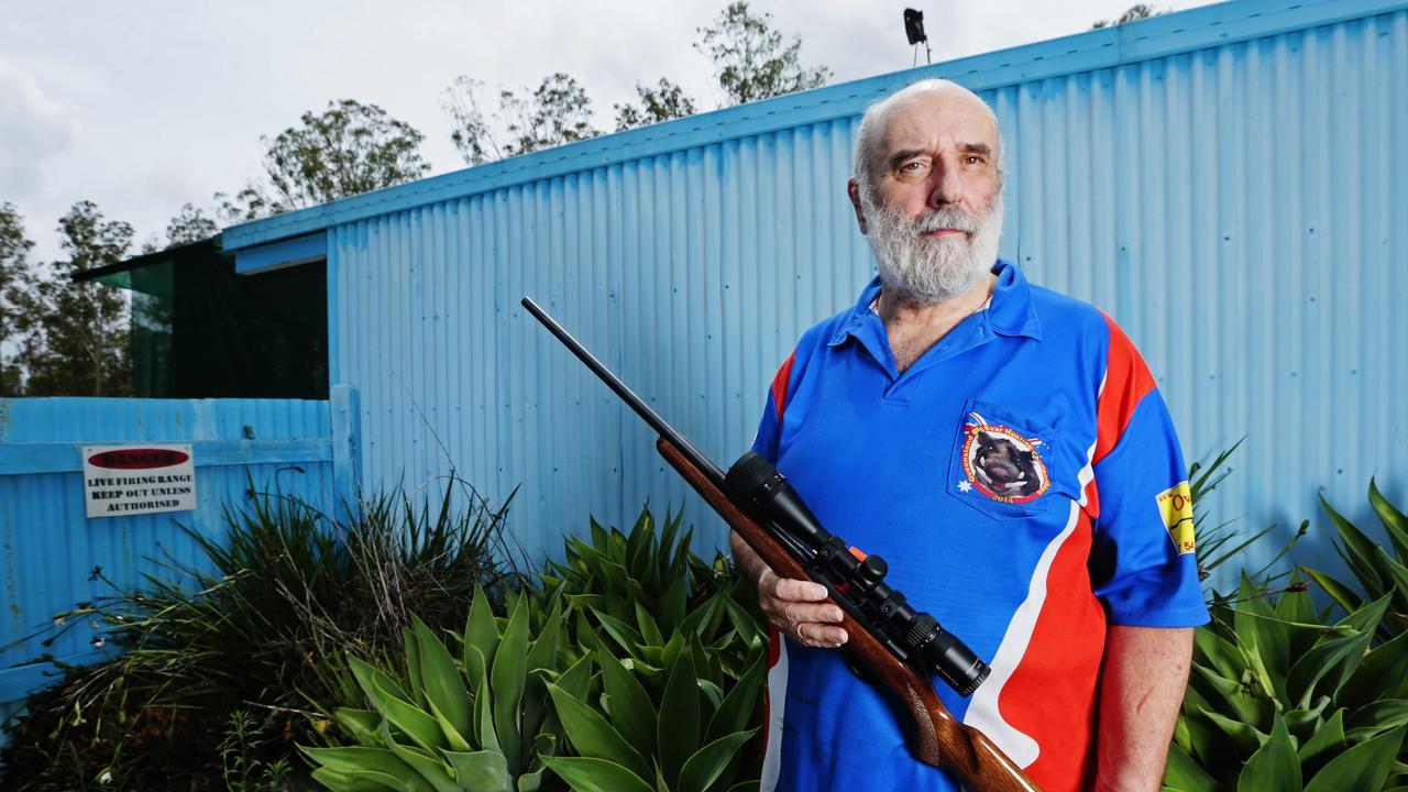 Owens Gun Shop owner Ron Owen at the Gympie Smallbore Rifle Club. Photo Lachie Millard. Taken three years ago.