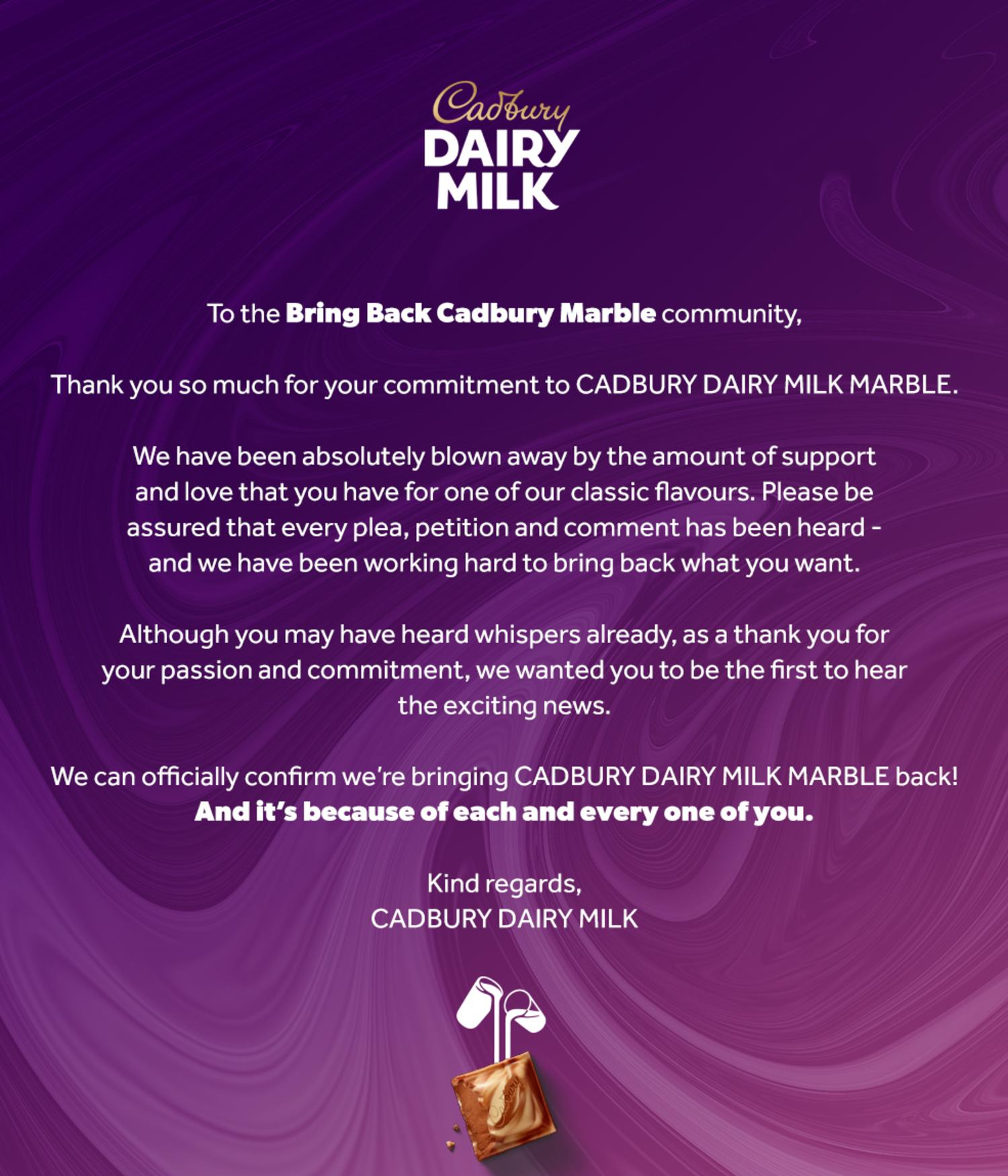 News.com.au have obtained the letter Cadbury have sent to dedicated Facebook group, Bring Back Cadbury Marble, confirming the block is returning to Australian shelves. Picture: Supplied