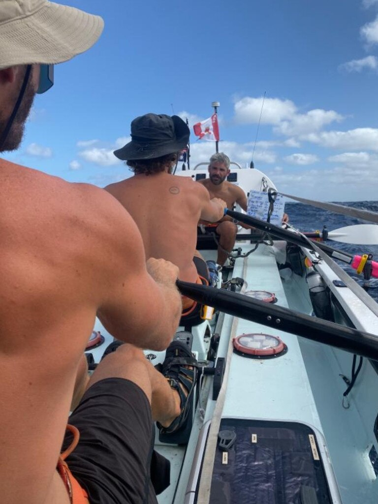 Nic Sargent keeping the rowing team informed during the Atlantic Challenge. Picture: SUPPLIED