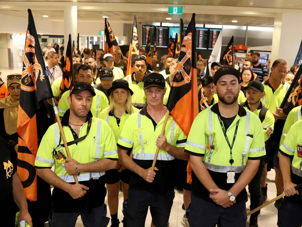 Jetstar baggage and ramp workers pictured on strike in December. Picture: Damian Shaw