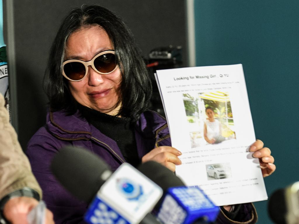 Qing He was distraught at a press conference appealing for information from the public a month before her daughter's body was found. Picture: Brendan Esposito/AAP