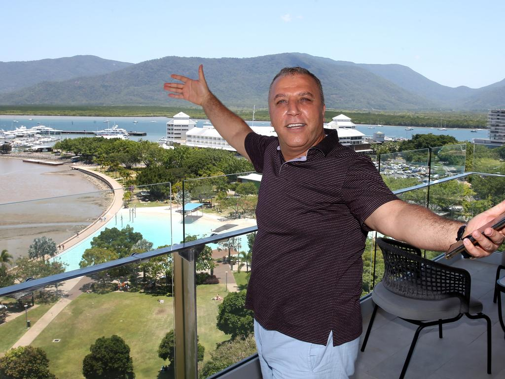 Crystalbrook Collection owner Ghassan Aboud on the veranda of his private suite at Flynn overlooking the cairns Esplanade Picture: Anna Rogers