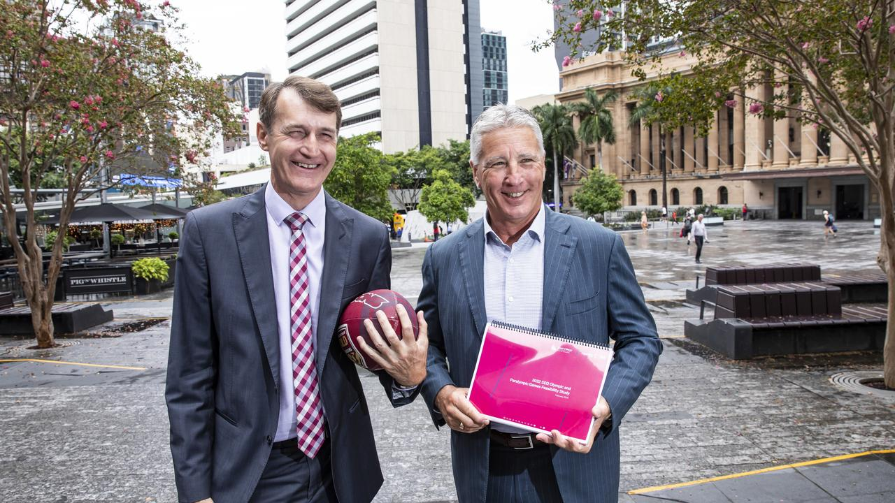 Former Brisbane lord mayor Graham Quirk, left, and north Queensland businessman (and Cowboys chairman) Laurence Lancini, who is backing QLD's 2032 Olympic Games bid. Pic Mark Cranitch.