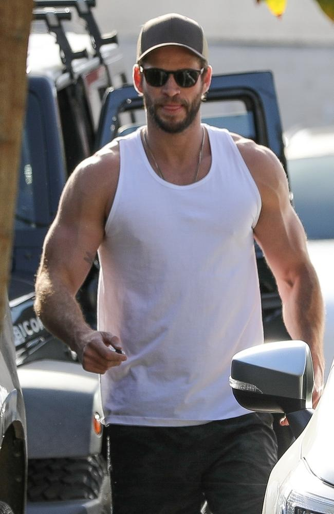 Liam Hemsworth was sporting some seriously pumped arms after his workout in LA. Picture: LESE / BACKGRID