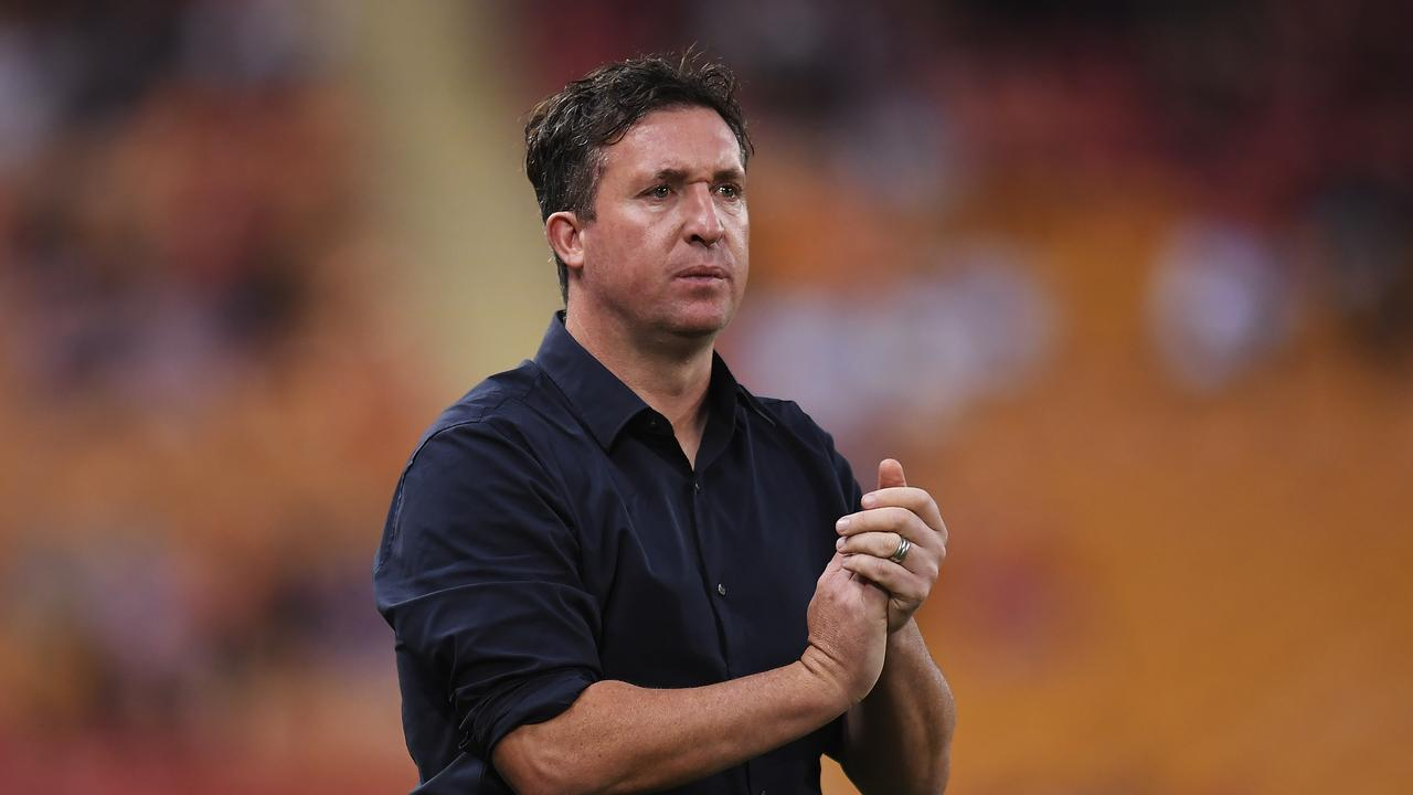Brisbane Roar coach Robbie Fowler will fight Western United's bid to stop Scott McDonald from playing against them if the teams meet in the finals. (Photo by Albert Perez/Getty Images)
