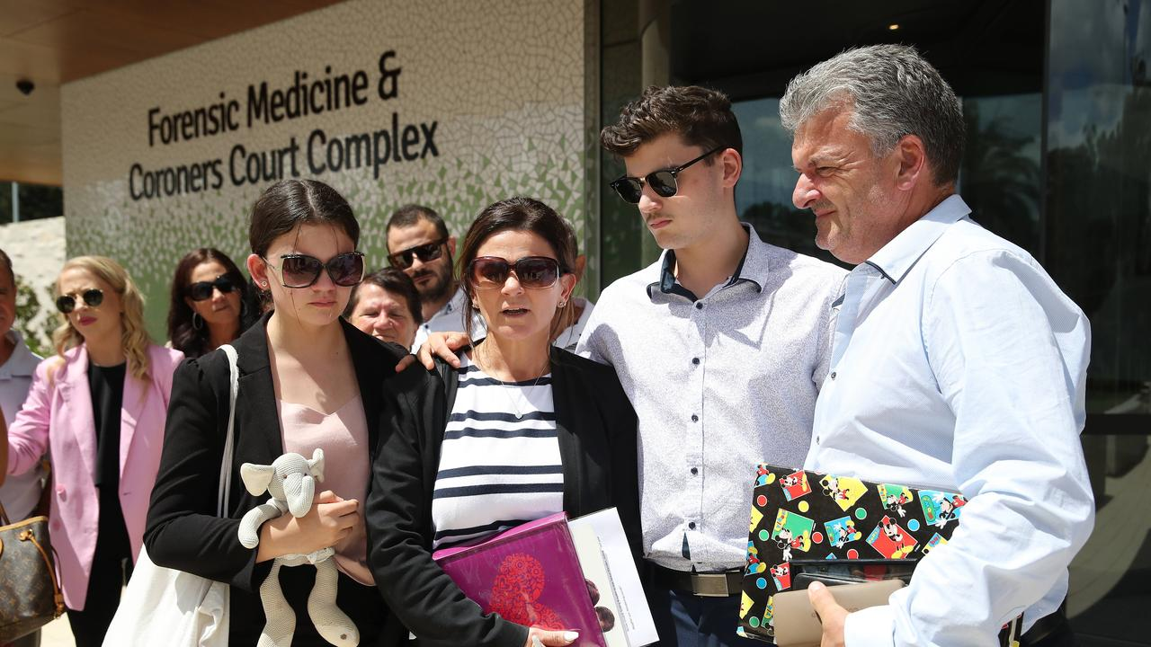 Family and supporters of Renae Marsden leave the NSW Coroners Court. Picture: David Swift.