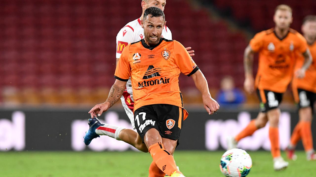 Former Socceroos striker Scott McDonald was one of Brisbane's best players in the Roar's 2-1 win over Adelaide United last week. Picture: Getty Images