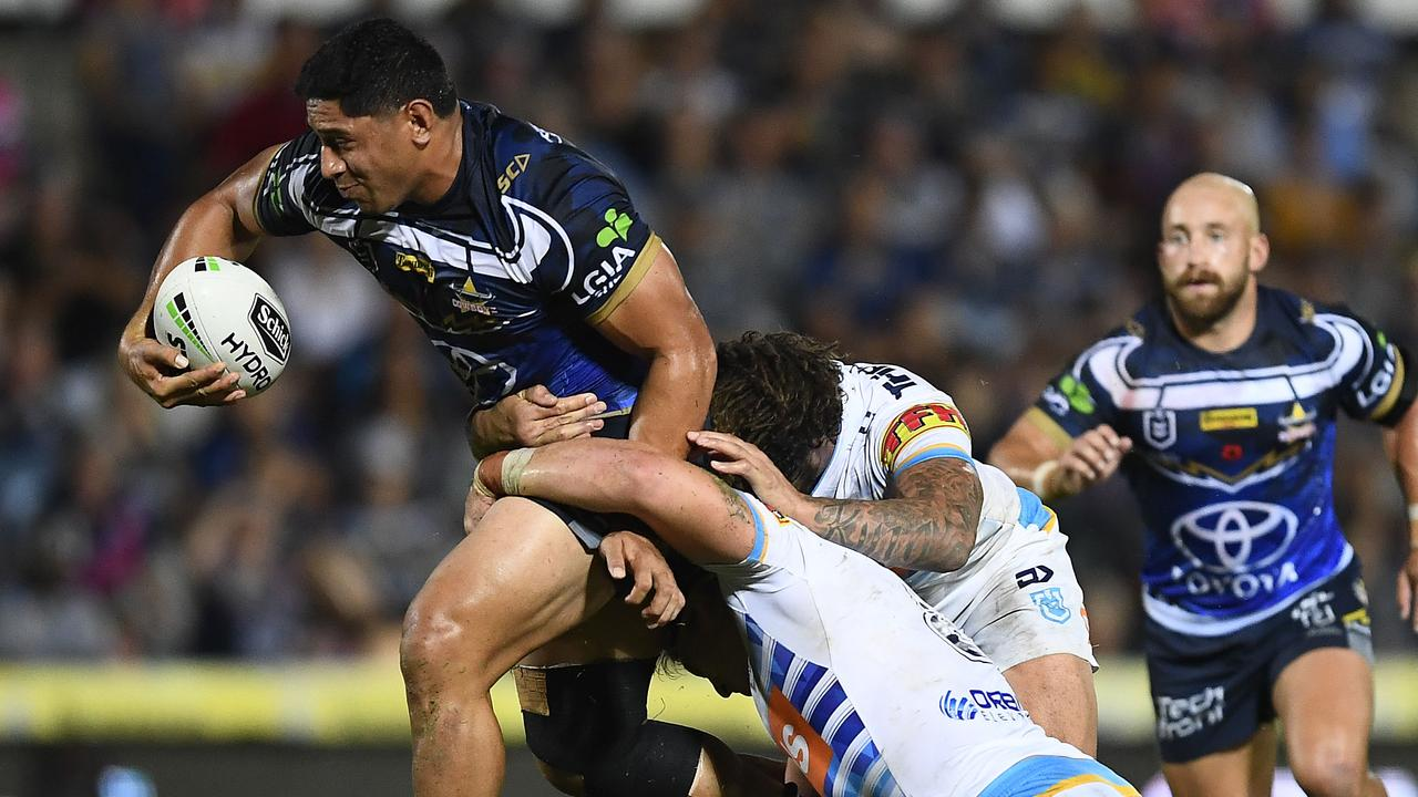 The Titans find it difficult to stop Jason Taumalolo. Picture: Ian Hitchcock/Getty Images