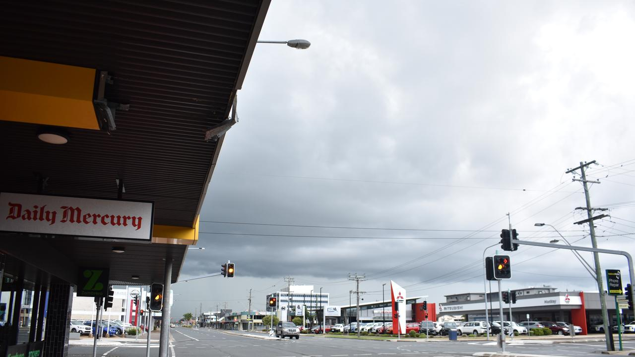STORM BREWING: Dark clouds over Mackay CBD.