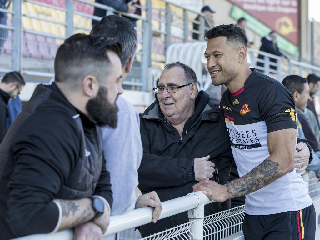Israel Folau training with Catalan Dragons in Perpignan, France. Pi. Ella Pellegrini