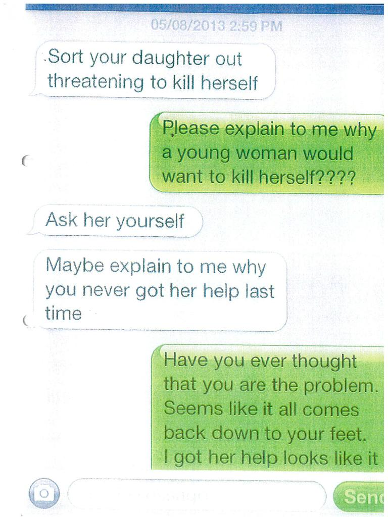Texts to Renae's mother from 'Brayden'. Picture: Supplied
