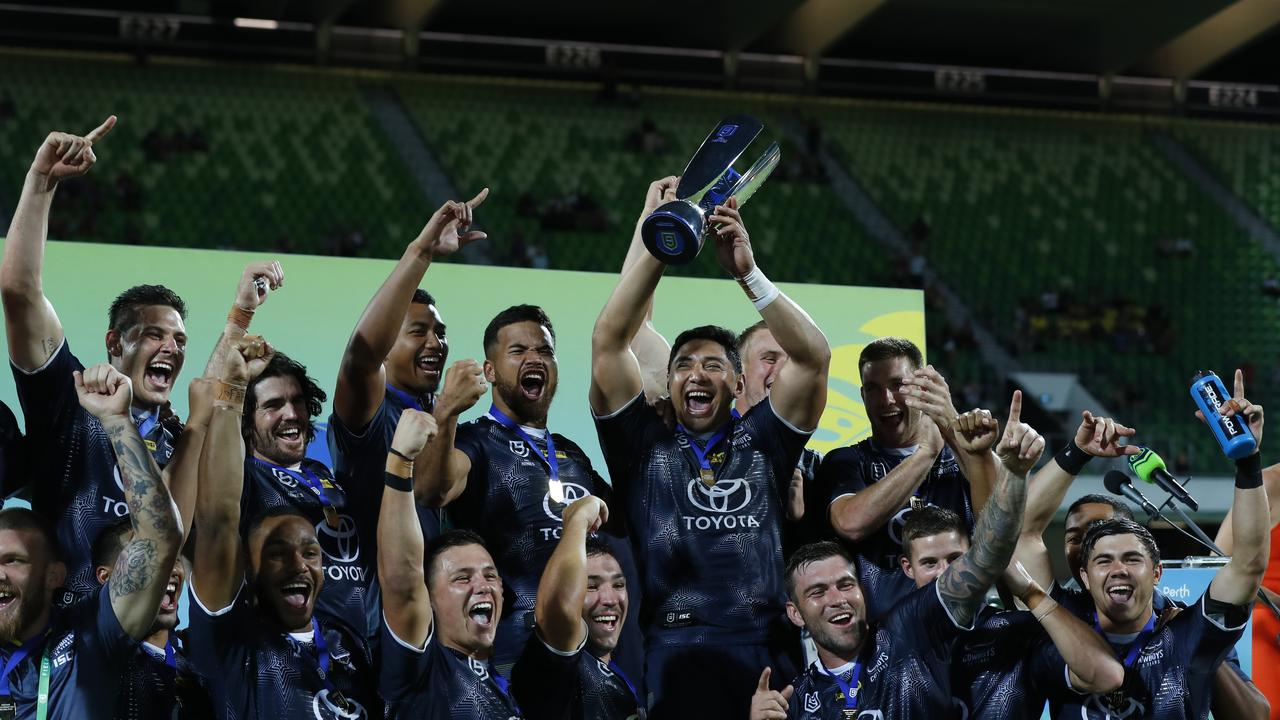 PERTH, AUSTRALIA – FEBRUARY 15: Jason Taumalolo of the Cowboys and his team celebrate winning the Perth Nines Trophy from Day 2 of the 2020 NRL Nines at HBF Stadium on February 15, 2020 in Perth, Australia. (Photo by James Worsfold/Getty Images)