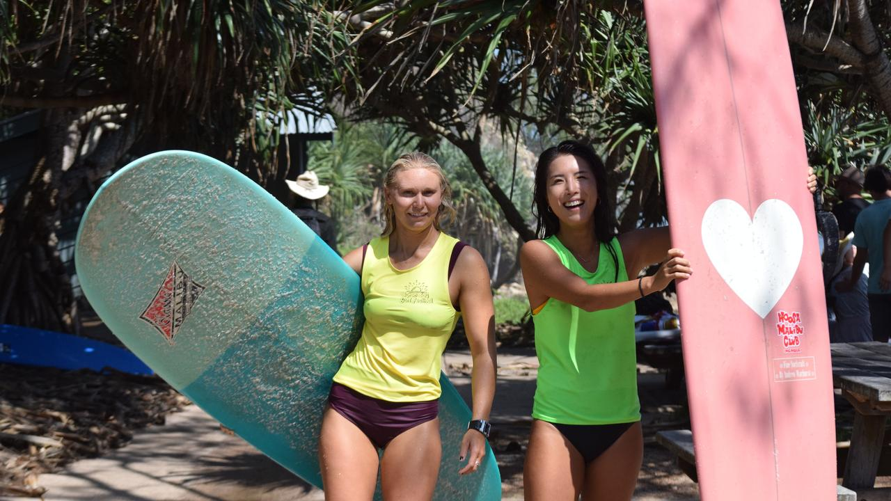 Kirra Molnar from Noosa and Jina Kim from South Korea competed in the Wategos Wizards surf competition, as part of the Byron Bay Surf Festival.