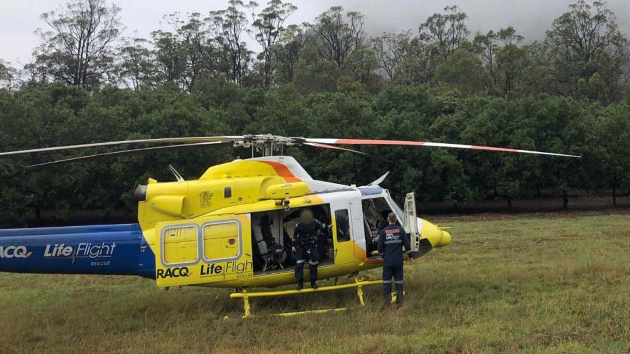 RESCUE: The Sunshine Coast-based RACQ LifeFlight Rescue helicopter has flown a man to hospital after he fell from his motorbike.