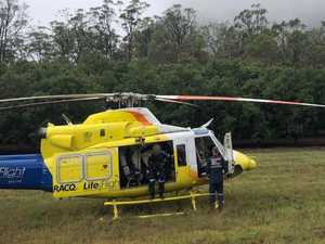 Motorbike rider winched to safety