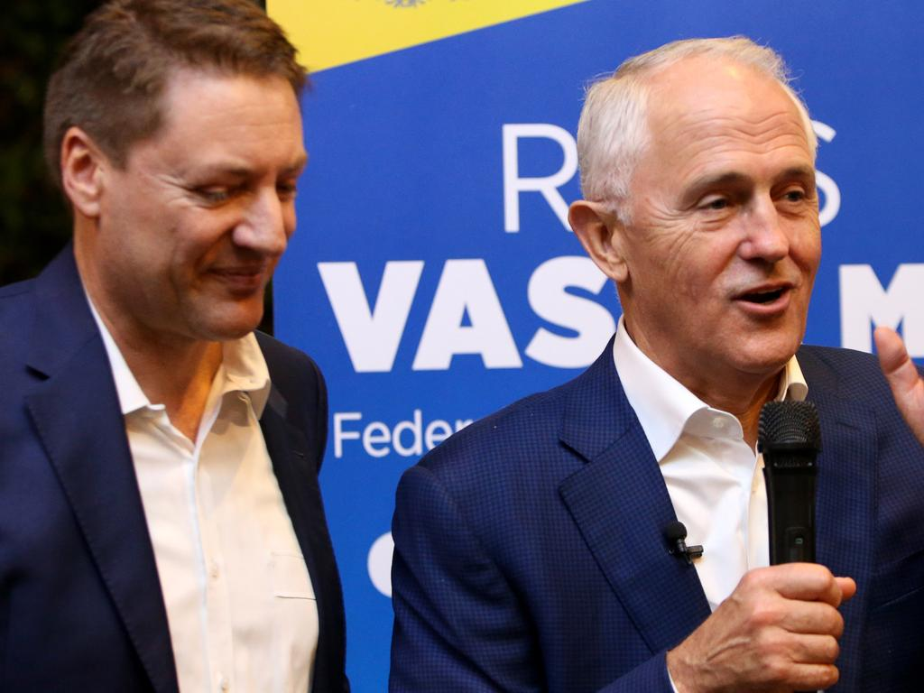 Malcolm Turnbull with Ross Vasta (left) at a Politics in the Pub event in 2018. Picture: AAP I