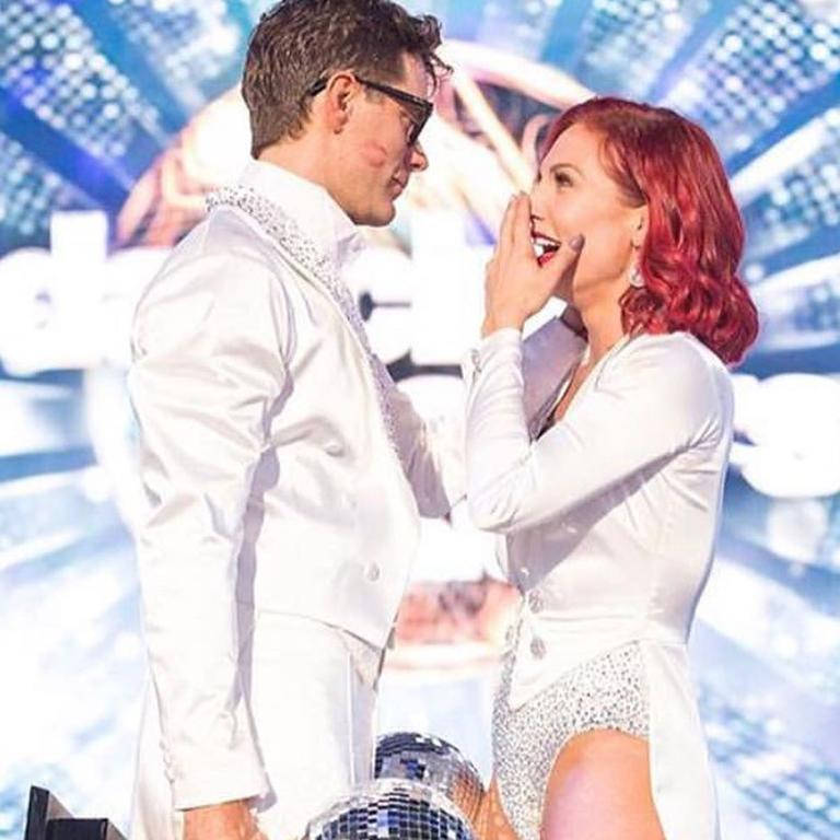 Sharna Burgess and Bobby Bones after they won US Dancing with the Stars.