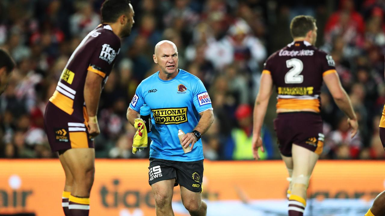 Broncos trainer Allan Langer delivers directions during last year's qualifying final between the Roosters and Brisbane. Picture: Brett Costello