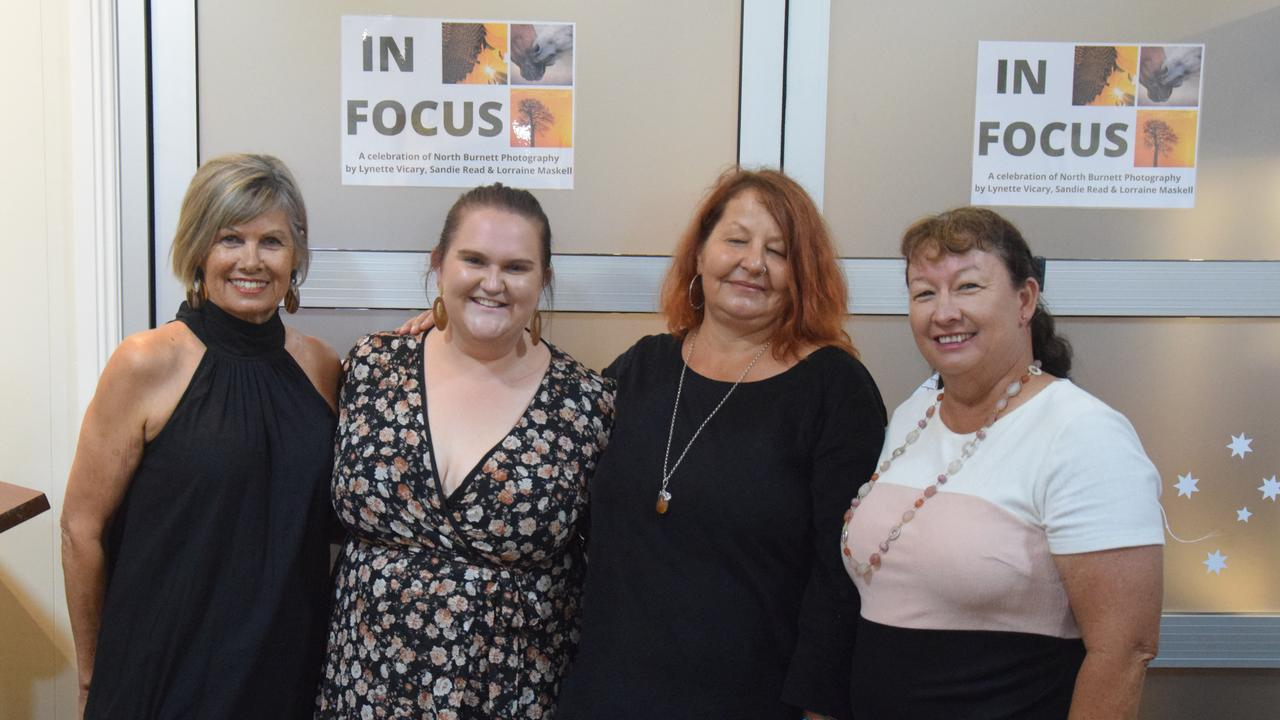 IN FOCUS OPENING: Bronwyn Burnham Lynette Vicary, Lorraine Maskell, and Sandie Read at the 'In Focus' Exhibition Opening in Eidsvold. Picture: Sam Turner.