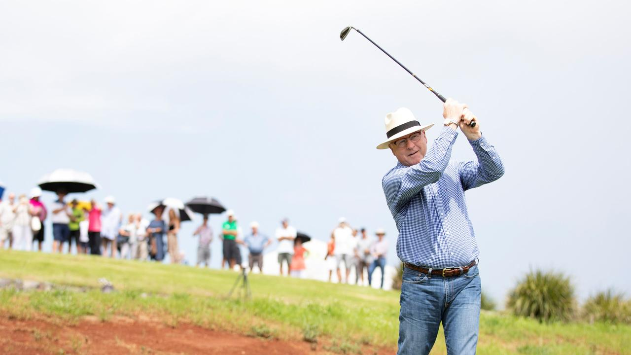 IN ACTION: Sunshine Coast Council Mayor Mark Jamieson tries out the upgraded golf course.