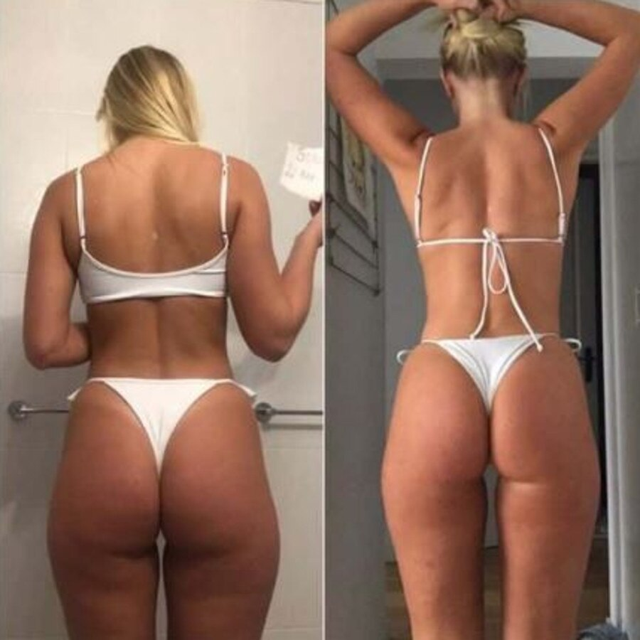 Sonja Katariina, 24, took part in an eight-week challenge focusing on weights and plenty of daily squats which helped tone her booty. Picture: Instagram/ SonjaKatariina