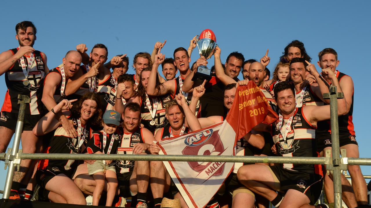 PREMIERS: The North Mackay Saints 10.15-75 defeated Eastern Swans 7.4-46 to win the 2019 AFL Mackay Allied Pickfords Cup A-Grade grand final.
