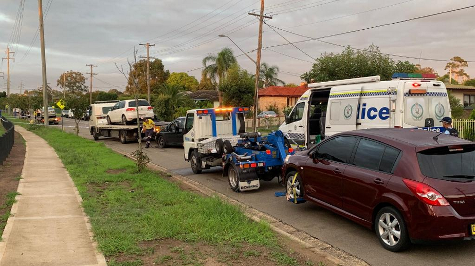 Four cars, all with P-plates, we're towed from Cabramatta Ave in Miller on Sunday morning.